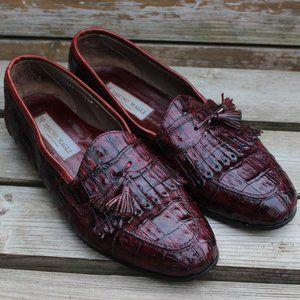 Bruno Magli Red Full Genuine Crocodile Loafer EUC